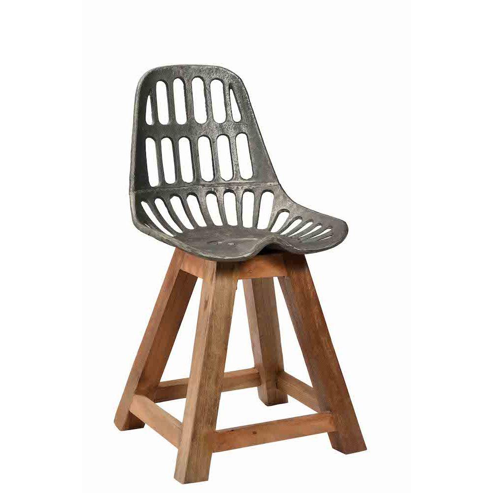 Industrial Dining Chair Wood Legs Metal Seat Uk