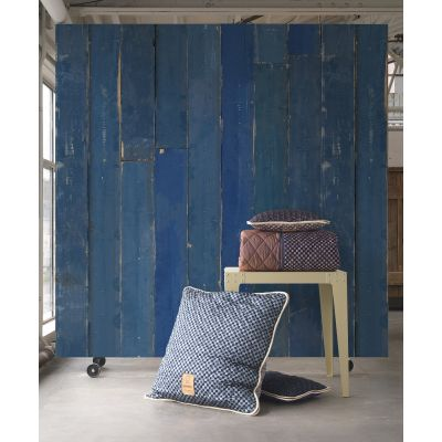 Blue Scrap Wood Distressed Wallpaper