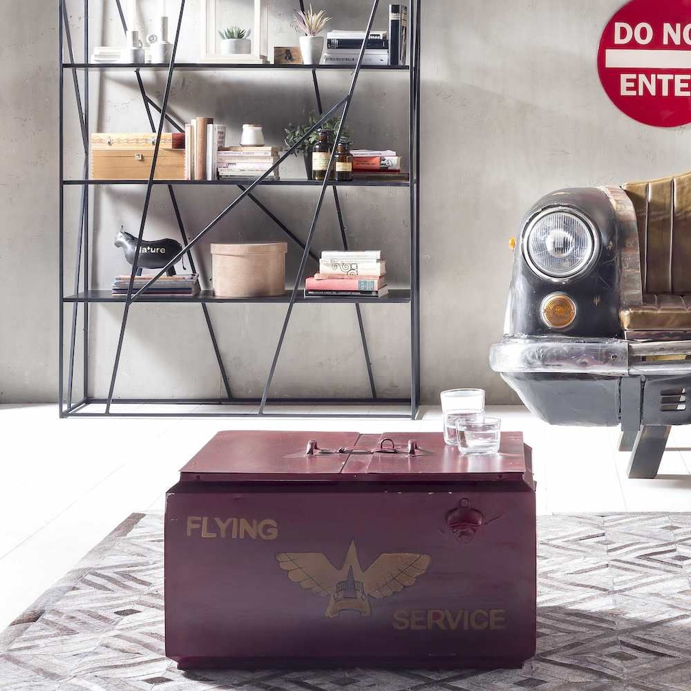 Retro Red Industrial Trunk Coffee Table