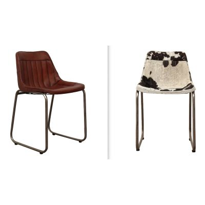 Leather Industrial Cowhide Dining Chair