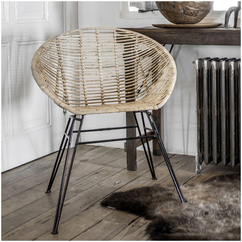 Rattan Bucket Chair Genuine Woven Wicker Vintage Retro
