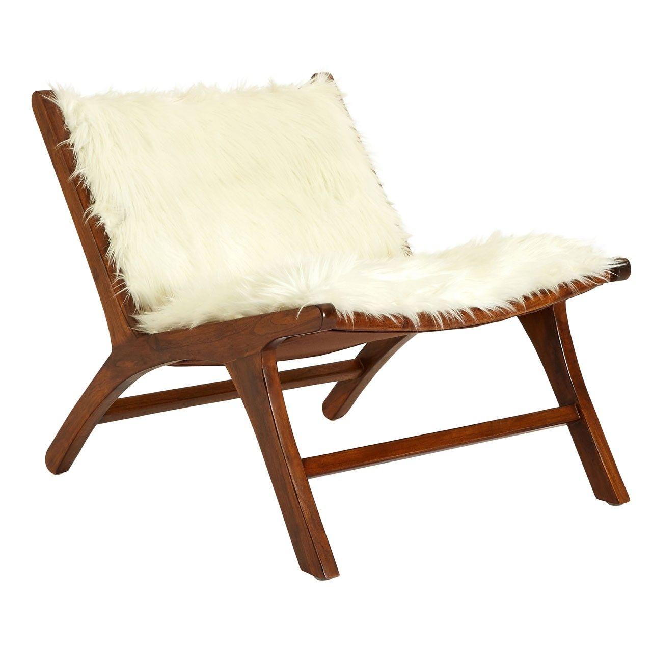 Retro Style Scandinavian Wood Furry White Chair
