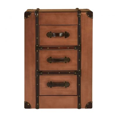 Copper Bedside Table Chest of Drawers