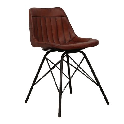 Leather Industrial & Cowhide Dining Chairs