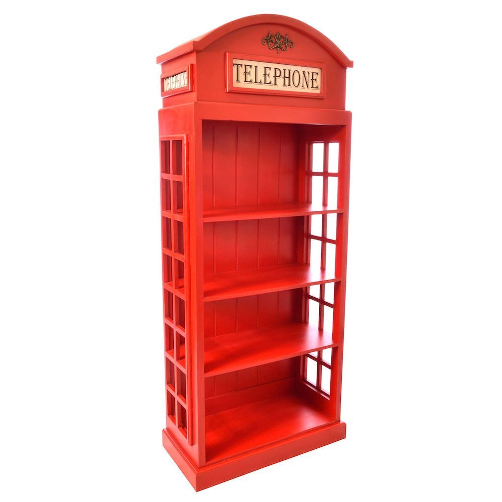 Vintage Large Life Size Replica Red Telephone Bookcase Cabinet Box