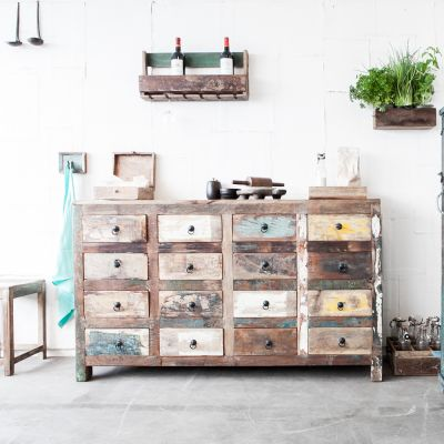Reclaimed Wood 16 Drawer Commode
