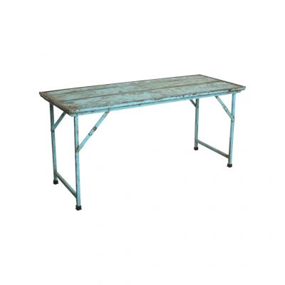 Folding Market Wood Dining Tables With Iron Legs