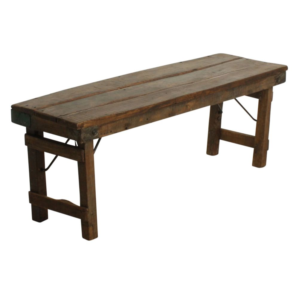 Wood And Metal Dining Bench