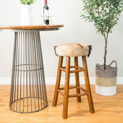 Mandela Goatskin Bar Stool