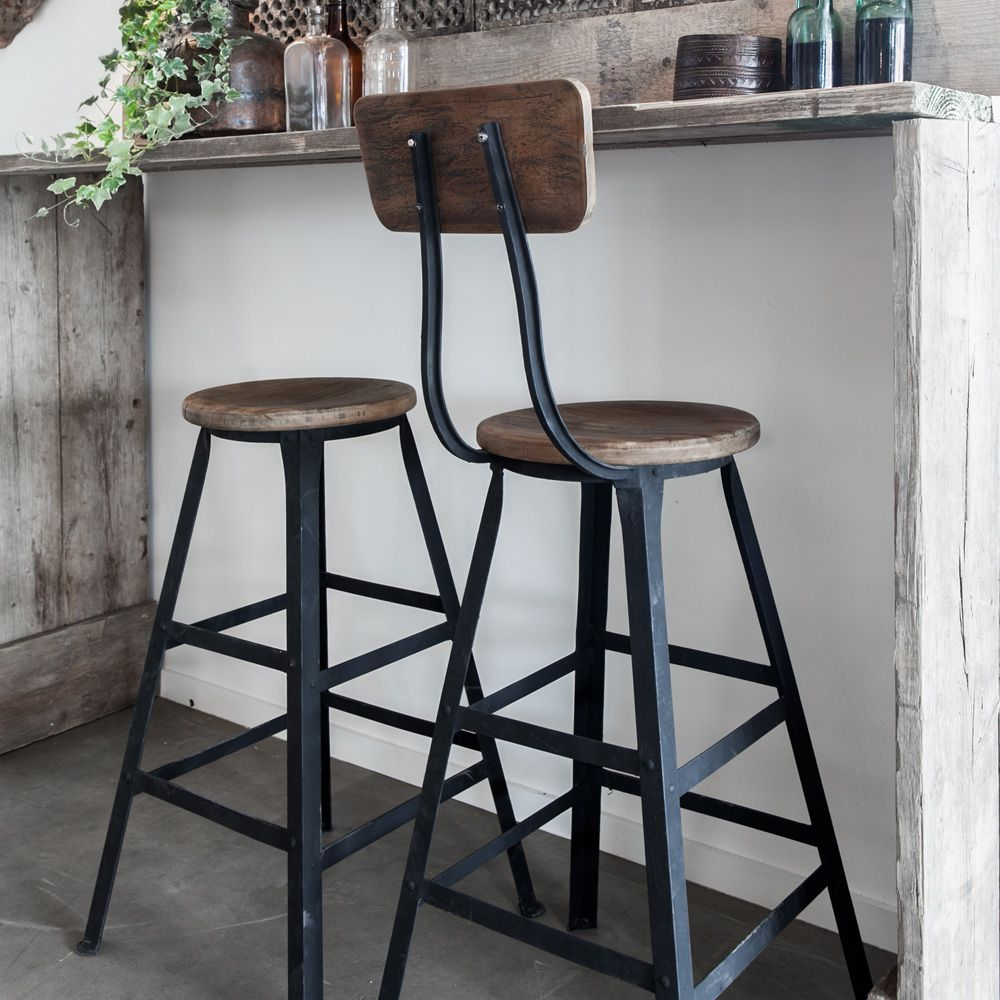 Wood And Metal Bar Stools