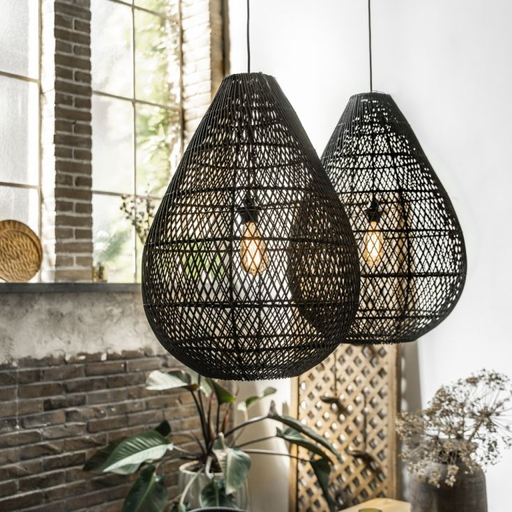Large Black Rattan Pendant Light Vintage Lighting £ 237.00 Store UK, US, EU, AE,BE,CA,DK,FR,DE,IE,IT,MT,NL,NO,ES,SE