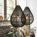 Large Black Rattan Pendant Light