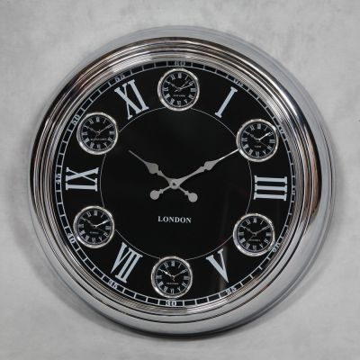 Chrome With Black Face Wall Clock