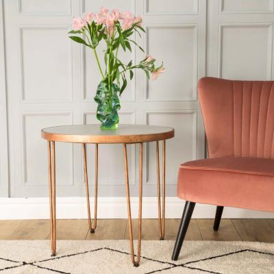 Hairpin Leg Copper Side Table