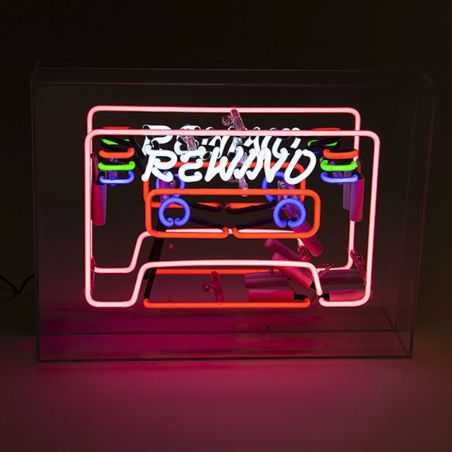 REWIND Tape Cassette Neon Light Retro Lighting Seletti £187.00 Store UK, US, EU, AE,BE,CA,DK,FR,DE,IE,IT,MT,NL,NO,ES,SE