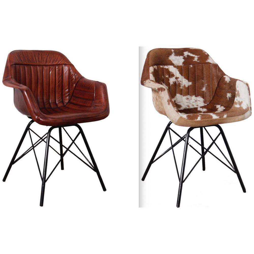 Retro Leather Bucket Dining Chairs Cowhide Brown Black