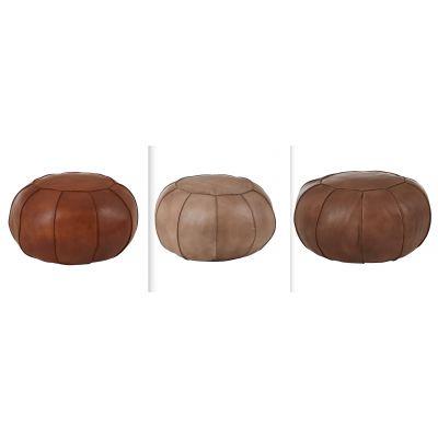 Round Leather Footstool
