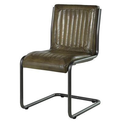 Ribbed Green Leather Chair
