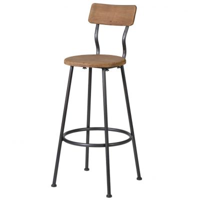 Industrial Metal & Wooden Back Bar Stools
