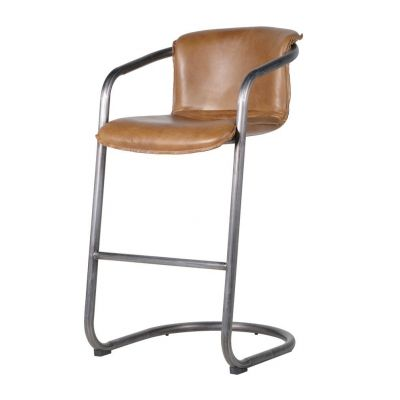 Leather Industrial Bar Stools With Arms