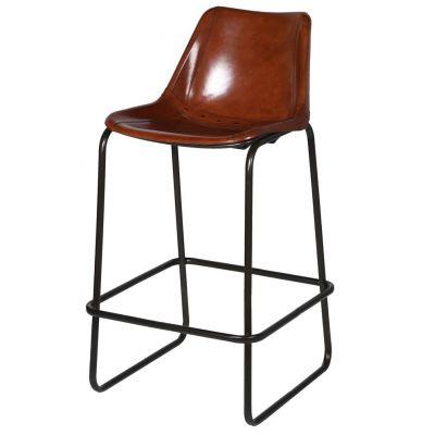 Tan Leather Bar Stool