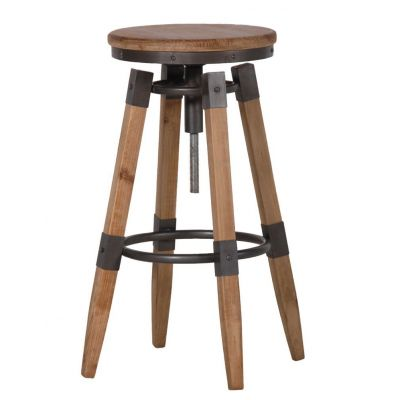 Backless Swivel Counter Stool with Wood Seat