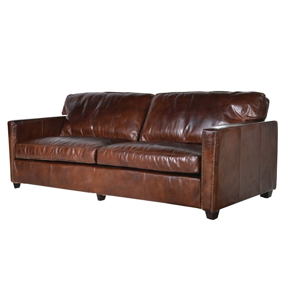 Dark Brown Leather Sofa * 2 seater 3