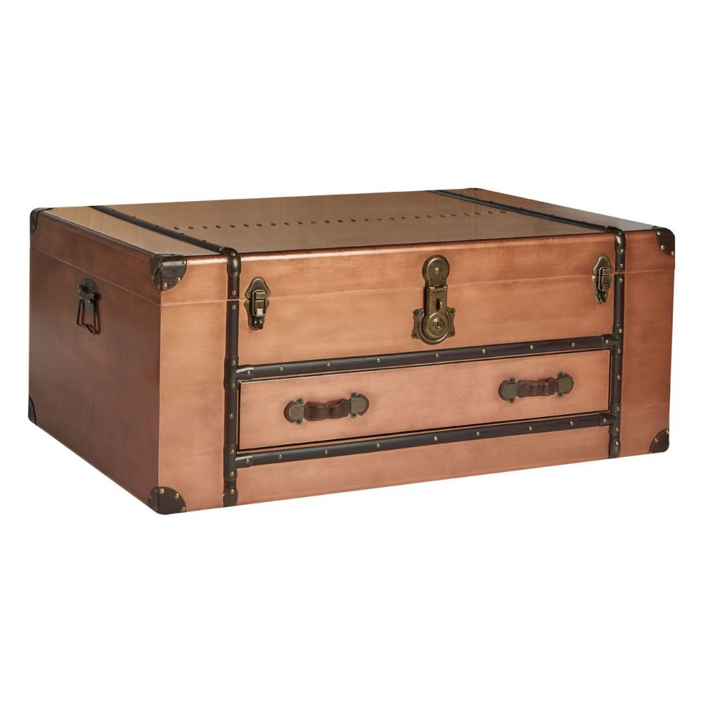 Aviator Vintage Style Copper Storage Trunk Box Toy Clothes Chest Coffeetable