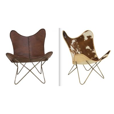 Cowhide & Leather Butterfly Accent Chair