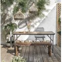 Folding Industrial Reclaimed Wood Dining Bench
