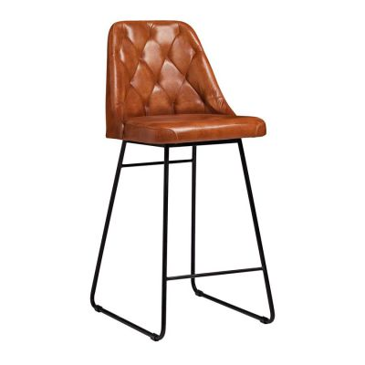 Genuine Tan Leather Seat Bar Stools