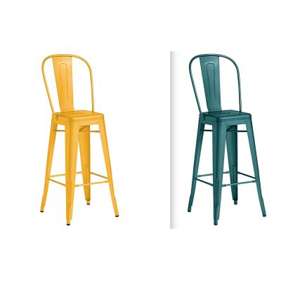 Industrial Coloured Metal Bar Stool With Backs
