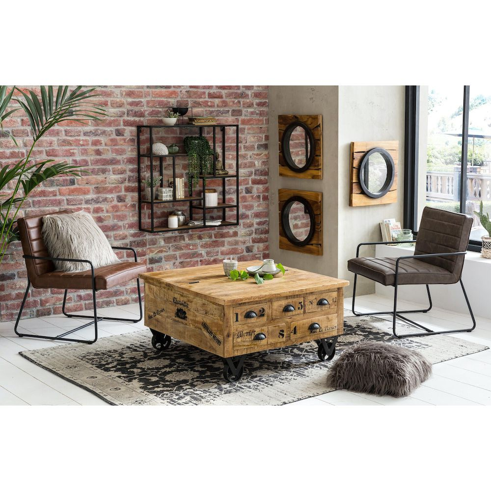Storage Coffee Table Trunk Rustic Solid Natural Wood