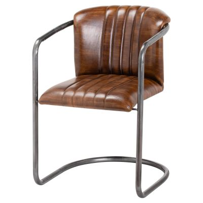 Brown Leather Industrial Dining Chairs