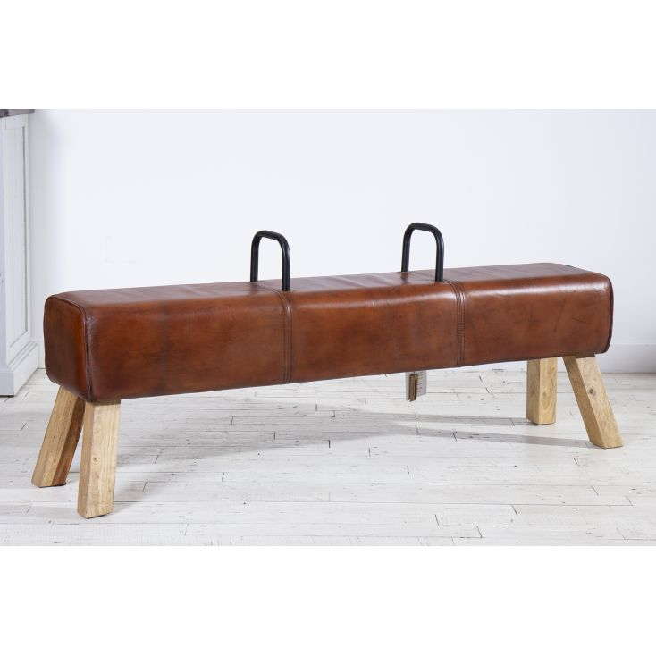 Brown Leather Pommel Bench Designer Furniture Smithers of Stamford £ 395.00 Store UK, US, EU, AE,BE,CA,DK,FR,DE,IE,IT,MT,NL,N...