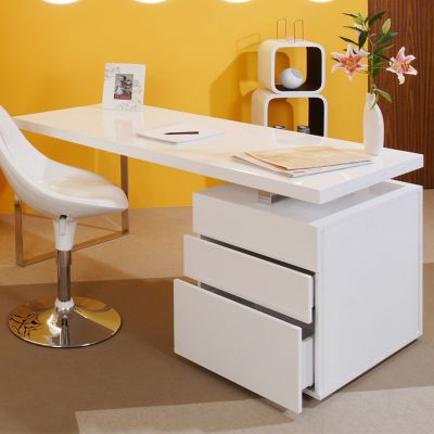 White Gloss Office Desk