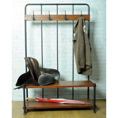 Vintage Entryway Coat Rack And Bench Seat Industrial Style
