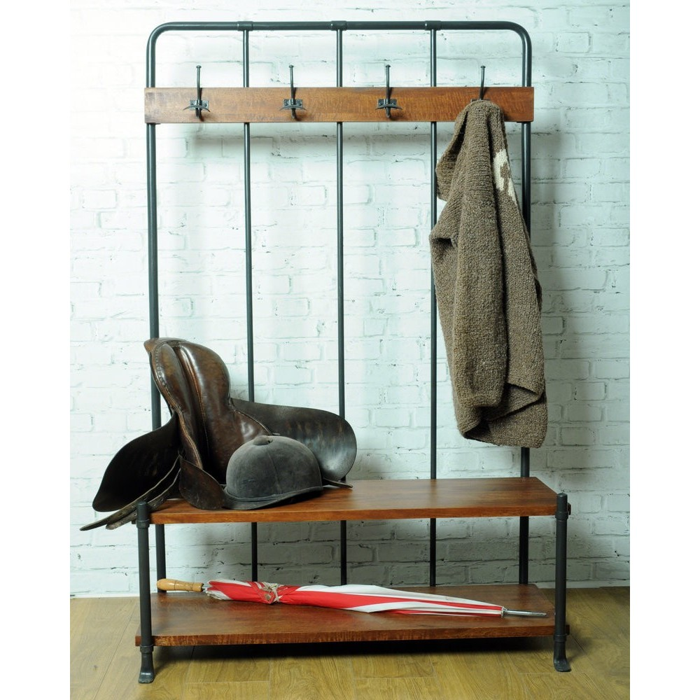 Vintage Entryway Coat Rack And Bench Seat Industrial Style Bench Coat Rack