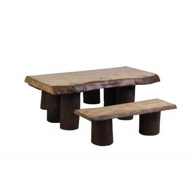 Rustic Garden Table & Bench Set