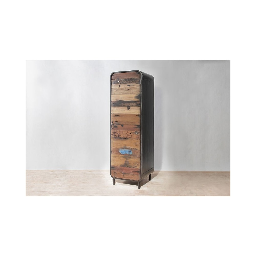 Beautiful New York Loft Reclaimed Wood Coffee Tables: Tall Narrow Slim Vintage Industrial Cabinet Recycled