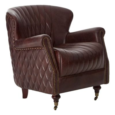 Upholstered Leather Wing Walnut Armchair