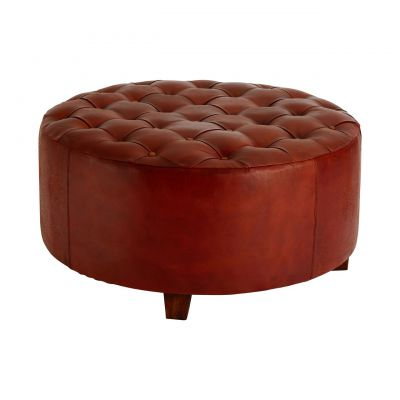 XL Round Leather Seating Stool