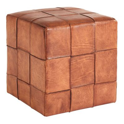 Leather Cube Stool