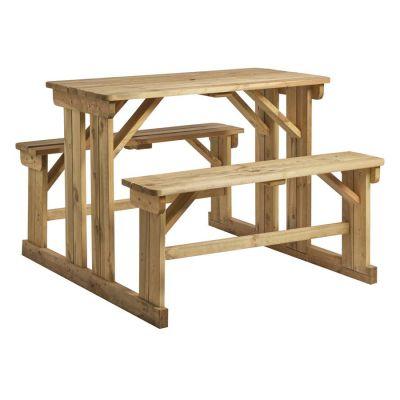 Walk In Outdoor Garden Table & Benches Set