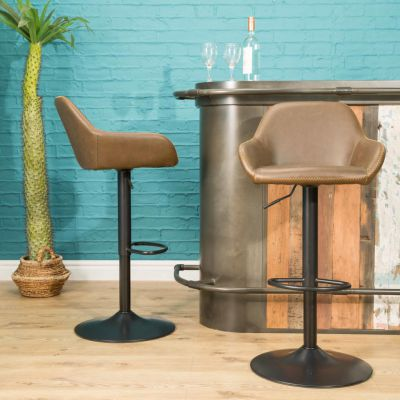 Adjustable Industrial Leather Bar Stool