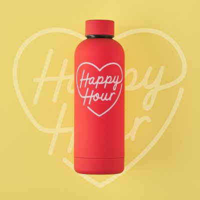 Red Happy Hour Water Bottle