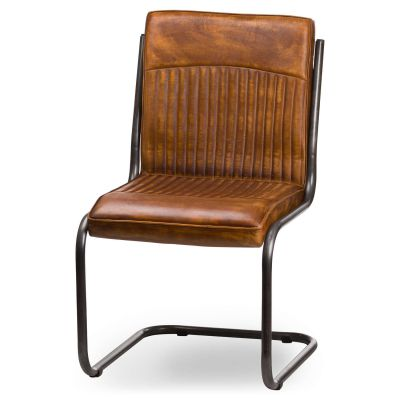 Ribbed Tan Leather Dining Chair