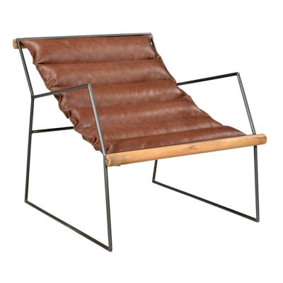 Minimalist Tan Leather Lazy Chair