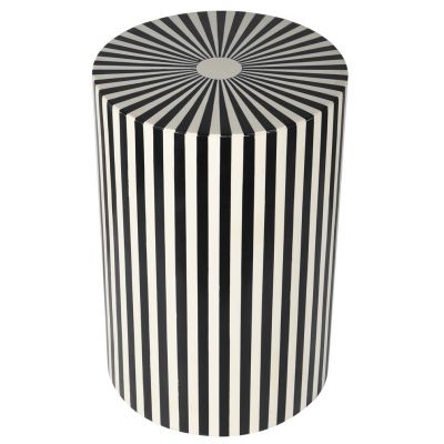 Black And White Stripes End Side Table
