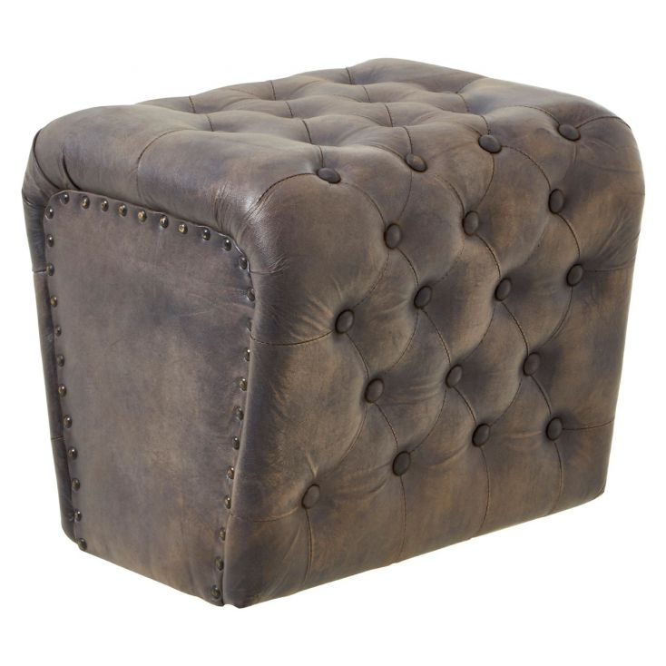 Blue Leather Pouf Stool Footstools Smithers of Stamford £ 225.00 Store UK, US, EU, AE,BE,CA,DK,FR,DE,IE,IT,MT,NL,NO,ES,SE
